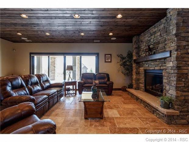 Rustic Basement In Colorado Springs Beige Tile Floor Recessed Lighting B